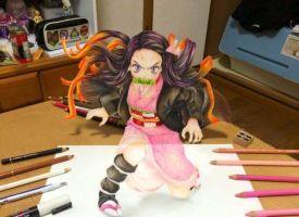 日本画师绘制祢豆子3D立体画 效果逼真堪比手办