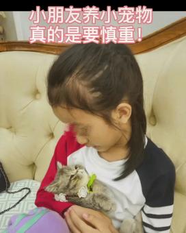 买猫来不到10天,女儿的头顶秃了,妈妈傻眼:想哭